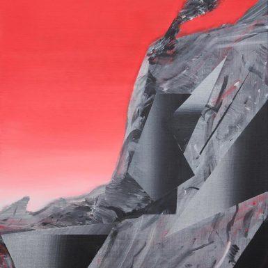 Phil Ashcroft, Combe Martin (Catalina Red Study), acrylic on canvas,76 x 61cm 2020, photo: Tobi Jenkins